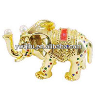Indian gold enamel elephant shaped box gift item metal trinket box handcraft souvenir(QF148)