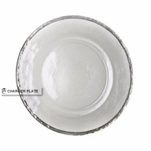 DAYA 13inch Clear Charger Plate With Silver Rim For Wedding And Event Catering