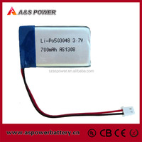 rechargeable 503048 3.7V 700mAh lipo battery for bluetooth headset