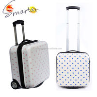 Spots Printed Small Trolley Luggage Bag for Laptop with 2 Wheels