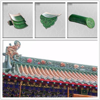 antique dark green glazed ceramic / clay roof tile