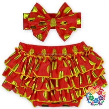 Red Gold Dots Diaper Covers , ruffle pants, wholesale baby ruffle bloomers with matched headbands set