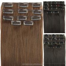 New beautiful cheap 100 % natural raw virgin remy brazilian human clip in hair extension cuticles all facing same direction