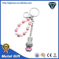 Metal pretty crystal beaded animal keychain
