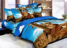 hot sales 100% cotton 3D animal reactive printed bedding set