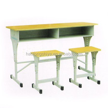 China popular two seats steel-wood school desk