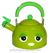 Cute Cartoon Hot Green Face Bakelite Handle Enamel Whistling Kettle Expression pot