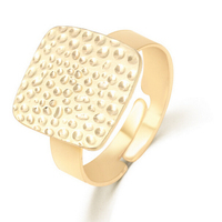 European fashion alloy ring opening female Golden Square Personalized Ring