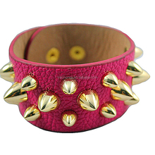 Latest Design Fashion Sexy Adjustable Leather Cuff Bangle Jewelry For Women
