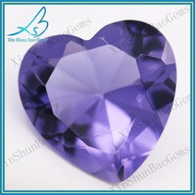 Synthetic Heart Shape Purple Decorative Glass Gems