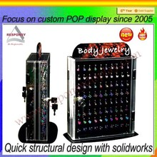 Clear Acrylic Body Jewelry Pegboard Display Case With Lock