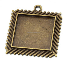 50pcs/lot 25mm Antique Square Blank Bezel Pendant Trays Jewelry Making
