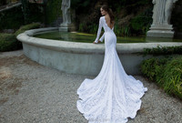 China Supplier Sexy Backless Lace Mermaid Long Sleeve Lace Wedding Dresses With Long Train