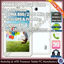 el más bajo de doble núcleo de mtk 7 pulgadas tf tarjeta 3g de tablet para américa del sur