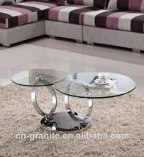 baratos giratorio de acero inoxidable de café de cristal tabla c009