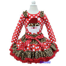 Christmas Leopard Red Polka Dots Pettiskirt Leopard Santa Red Polka Dots Long Sleeves Top Pettidress 1-7Y