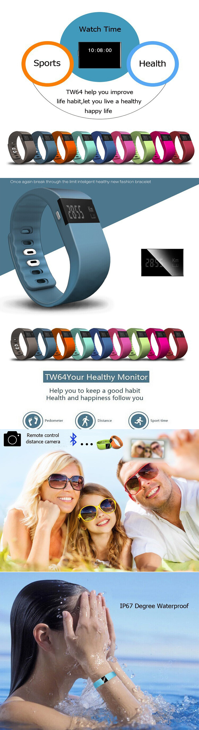 TW64 smart watch sport bracelet smartband smart watch with bluetooth