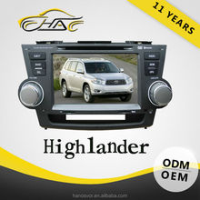 Double Din Car DVD Playe For Toyota Highlander With GPS Navigation Radio Audio System