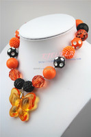 Halloween Gifts Pink&White Pearl Beads With Orange Butterfly Pendant Beaded jewelry wholesale chunky statement necklace CB251
