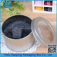 Factory Direct Sale Metal round Tin box with window for candy watch Packaging