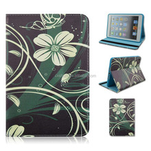 Butterfly Lingers Flower Flip Turn Stand Soft Blue TPU+PU Leather Tablet Cover Case For iPad mini 1/2/3