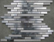 random strip marble mix metal linear mosaic tile backsplash kitchen wall