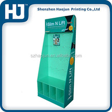 POP Shop hooks display floor compartment cardboard retail displays for toys ,corrugated paper display rack for hanging items