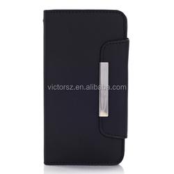 Leather Flip Case For Samsung Galaxy S5, Black Metal Button Flip Wallet