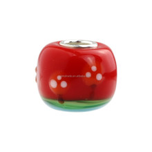 Wholesale Orange Red Trees Murano Glass Bead with 925 Sterling Silver Tube For European Bracelets
