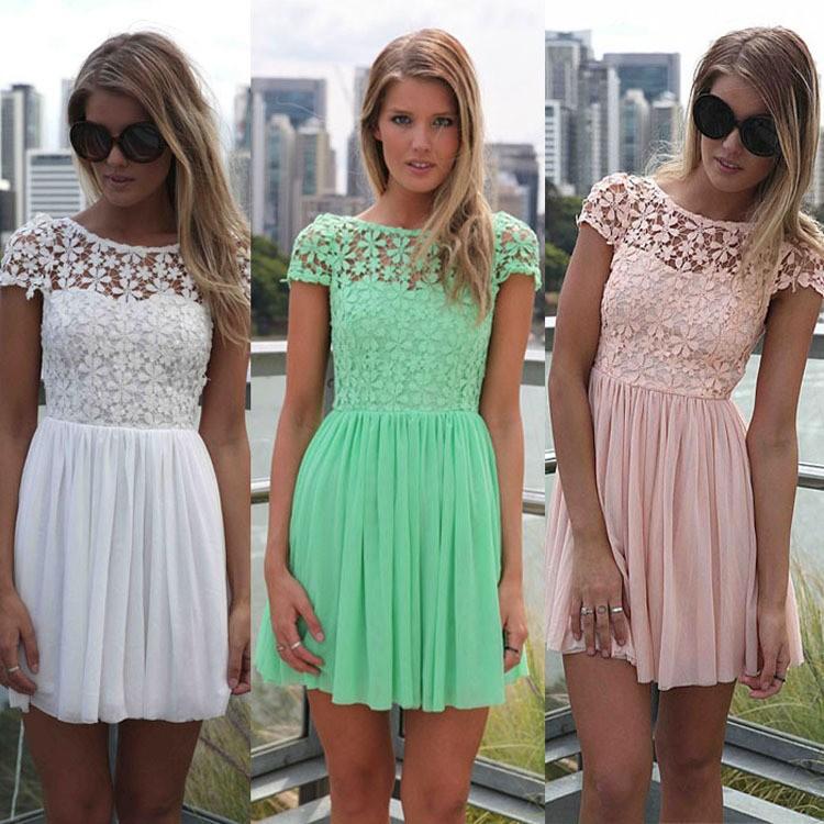 Women Swing Mini Dress For Party Ladies Club Dress Lace Plus Size