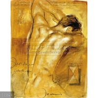 100% Handmade nude male body painting oils on canvas, A Man'S Desire #86349