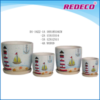 Colorful ceramic flower pots with saucer