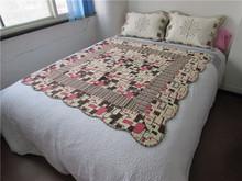 Fashion square design printed microfiber quilt patchwork quilt