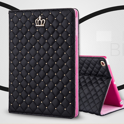 New Arrival for iPad mini 1 2 3 Fashion Bling Bling Diamond Crown Folio Leather Book Stand Case