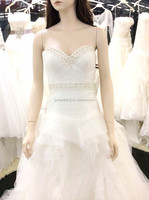 A line wedding dress chapel train pleat ruffles starpless lace up tulle bridal dress 15004-2