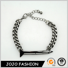 New arrival meaningful friendship gold and black chain fashion nail shape bracelet/