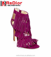 new model high heel Summer Leather lady dress shoes sandal tassel suede women sandals