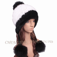 CX-C-198B Fashion Mink Fur Girls Ladies Knitted Winter Cap