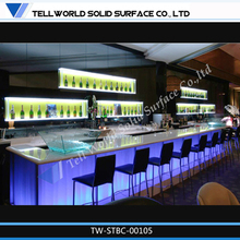 Bar lounge furniture glass counter table design with led