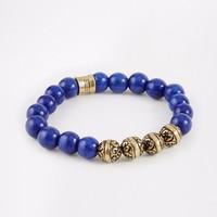 Newest Fashion 2015 Handmade Wholesale Jewellery DIY Top Brand Blue Beaded Bracelet For Men