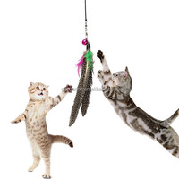 Hot sales Pet Kitten Dangler Rod Wand Teaser Teasing Feather Bell Bead Play Funny For Cat Toy