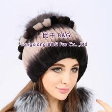 BG80613 Fashion 2015 Women Winter with Silver Fox Fur Trim Rex Rabbit Fur flower Hat cap
