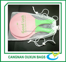 Small eco friendly nylon fabric sheer drawstring mesh gift bag