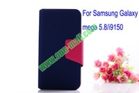 Litchi Lines Leahter Case for Samsung galaxy mega 5.8 with magnet