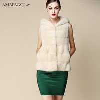 Wholesale women white mink fur waistcoat