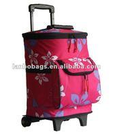 fashion trolley cooler bag for girl,cooler bag on wheel