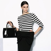High Quality OEM fashion ladies Black White boat neck striped tops ladies' blouse