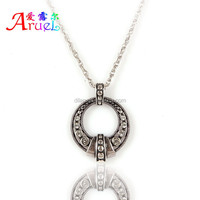 wholesale have spot Pop rock style round shape rhinestone it's cool can sport design jewelry silver long pendant necklace