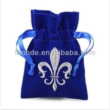 Germany quality 3x4 inch royal blue custom velvet bag with logo