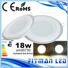 high brightness Fashion and generous design indoor glass 18w led ceiling panel lighting